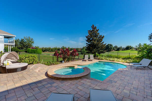 Relax in the sun while overlooking the prestigious Jack Nicklaus golf course