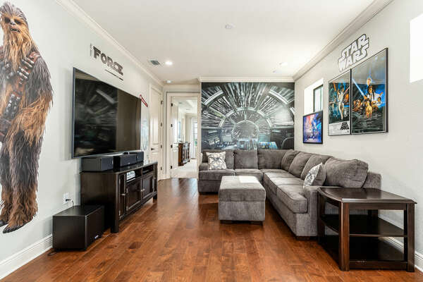 A galaxy- inspired movie area welcomes you as soon as you head to the second floor