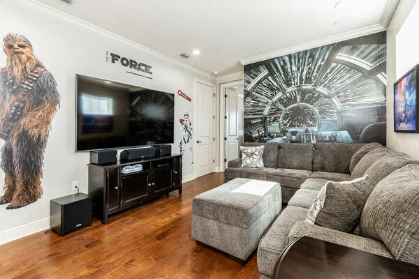 The loft features an 82-inch 4K SMART TV, surround sound, and Xbox One gaming console