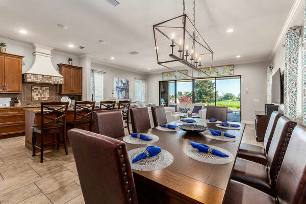 Eat with the whole family at the formal dining table and extra seating for 4 at the breakfast bar