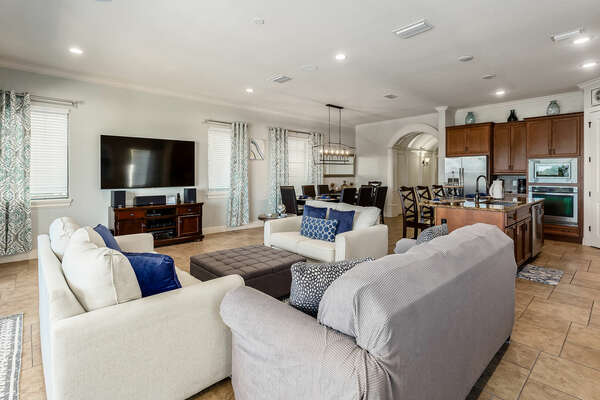 The open-concept living area is perfect for family gatherings