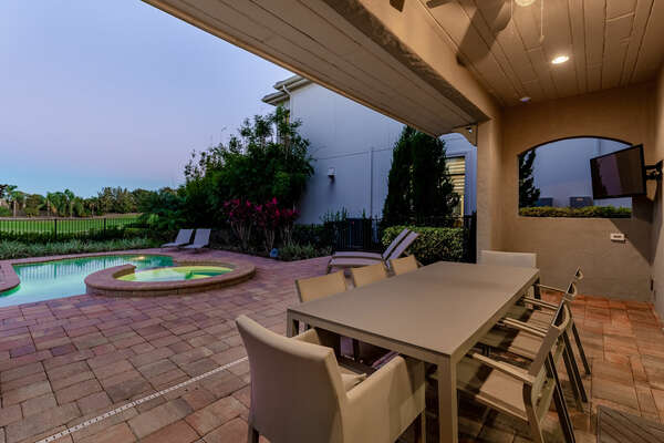 Dine al fresco in the outdoor dining table with seating for 8