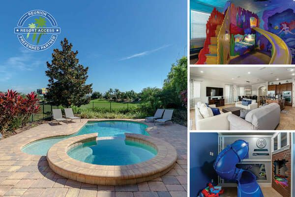 Vacation at Golden Bear Vila in Reunion Resort, a 5 bedroom 4 bath home with custom build kids bedrooms, sports lounge area, and a  private pool | PHOTOS TAKEN: December 2020
