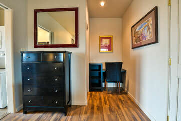 Living and work space with a dresser