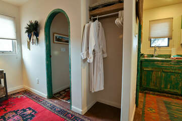 Access to the kitchen, bathroom, and closet in this Moab place to stay.