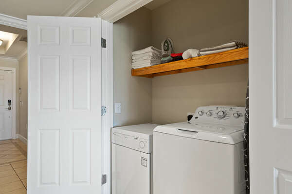 Washer & dryer, iron & iron board for your convenience