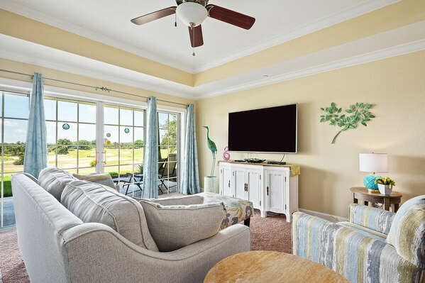 The living area is light & spacious with the view adding to the ambiance