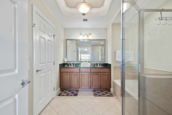 The Master Ensuite bathroom has both a tub and step-in shower.