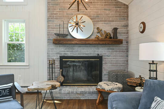 Family room fireplace for Fall use - 46 Holly Point Road Centerville Cape Cod