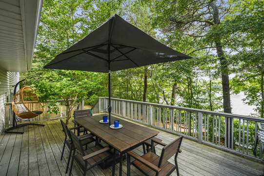 Deck overlooking Lake Wequaquet - 46 Holly Point Road Centerville Cape Cod
