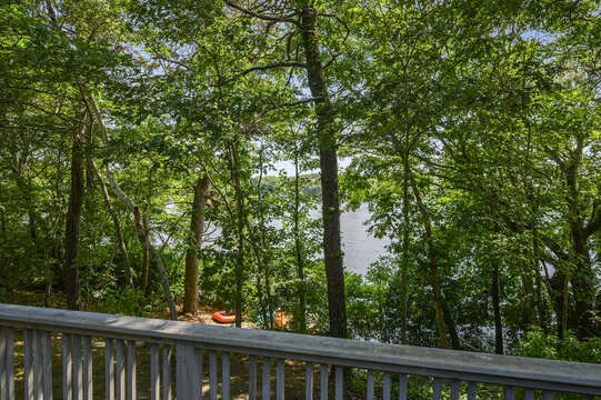 View of Lake Wequaquet off deck - 46 Holly Point Road Centerville Cape Cod