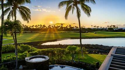 Beautiful sunset with views of the golf course and Pacific Ocean