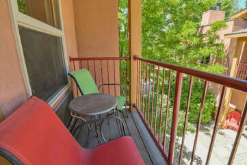 Exterior patio at this condo for rent Moab Utah