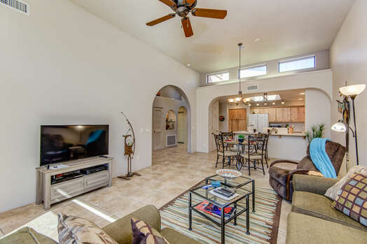 Great Room - Living Room, Dining Area and Kitchen with High Ceilings