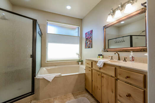 Master Bath with a Jetted Tub and Separate Shower