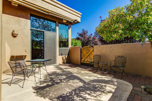 Private Back Patio with Bistro Tables and Chairs.  Wonderful Views of Thunder Mountain