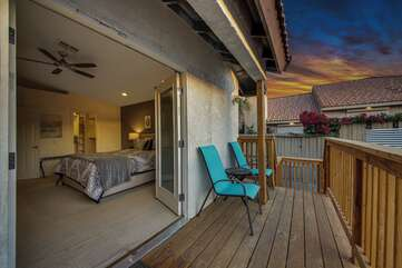 The back deck and upper patio is located right outside of the Master Bedroom. The best view of the house.