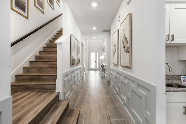 Detailed foyer leading to the living area