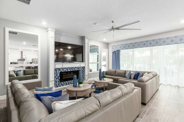 Head out the sliding glass doors from the living area directly to the patio (Disclaimer: Fireplace(s) not allowed for guest use, homeowner use only.)