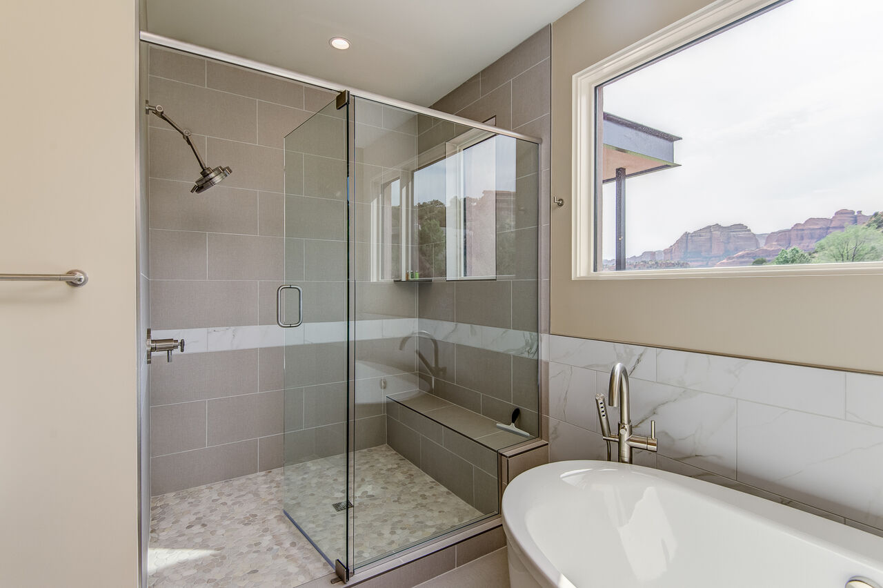 Large Tile/Glass Shower with Bench Seating