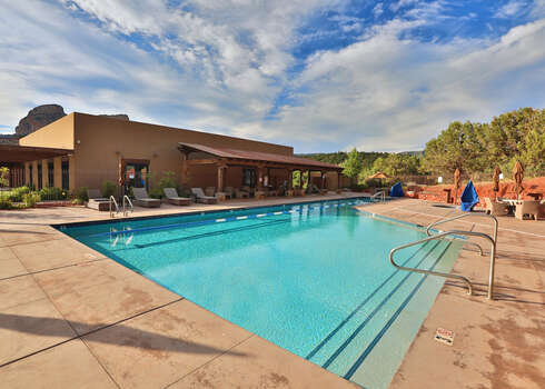 Seven Canyons Community Heated Pool Open Year-round with Lounge Chairs