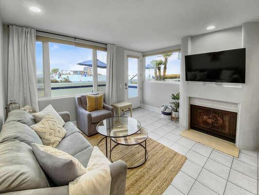 Fireplace and Flat Screen Smart TV