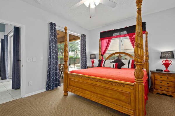 This Master King Suite has a private entrance to the lanai and pool deck.