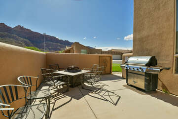 Private patio with gas fire pit and BBQ