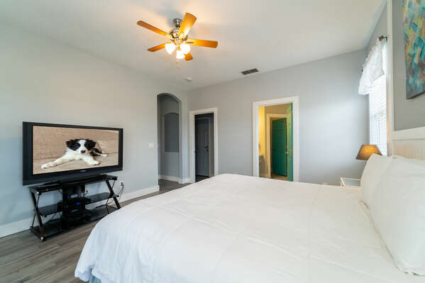 Alternate view of master bedroom showing entry to bathroom