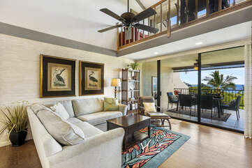 Living area with large floor to ceiling windows to maximize the view!