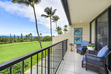 Lanai with seating outside the master bedroom