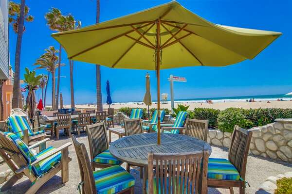 Oceanfront Patio Dining at this Mission Beach Rental