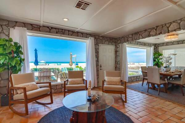 West Lounging Area with Oceanfront Views on Ground Floor