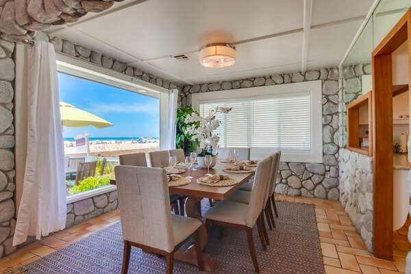 West Dining Area with Oceanfront View on ground floor