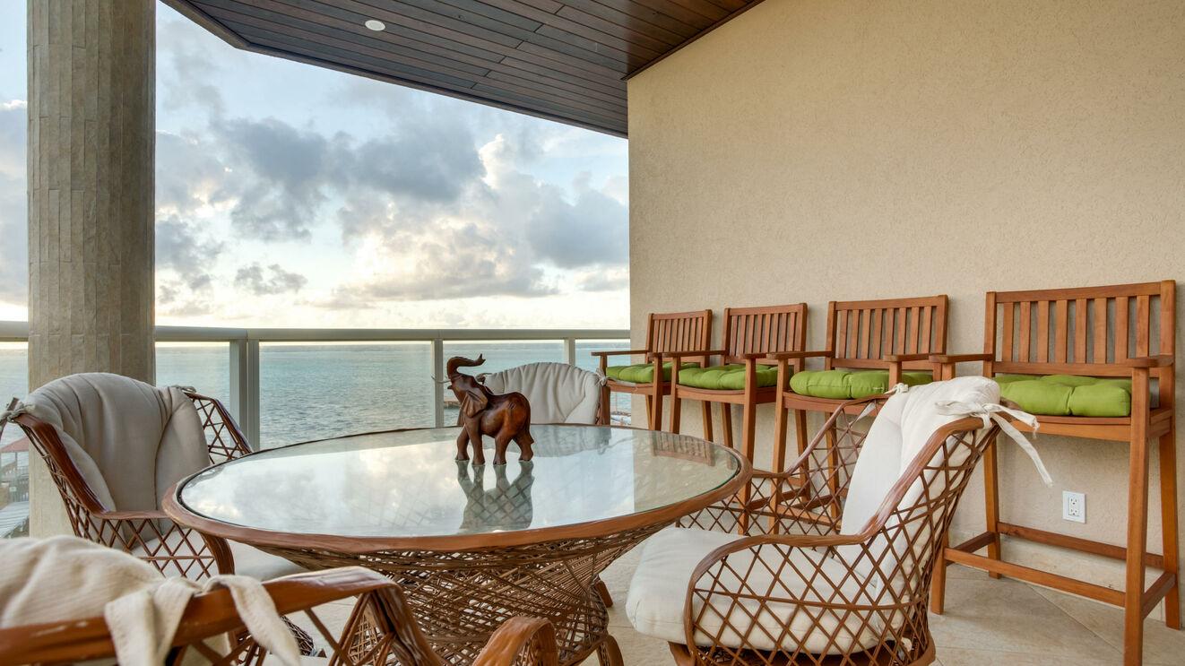 Corner Balcony with Breakfast Table