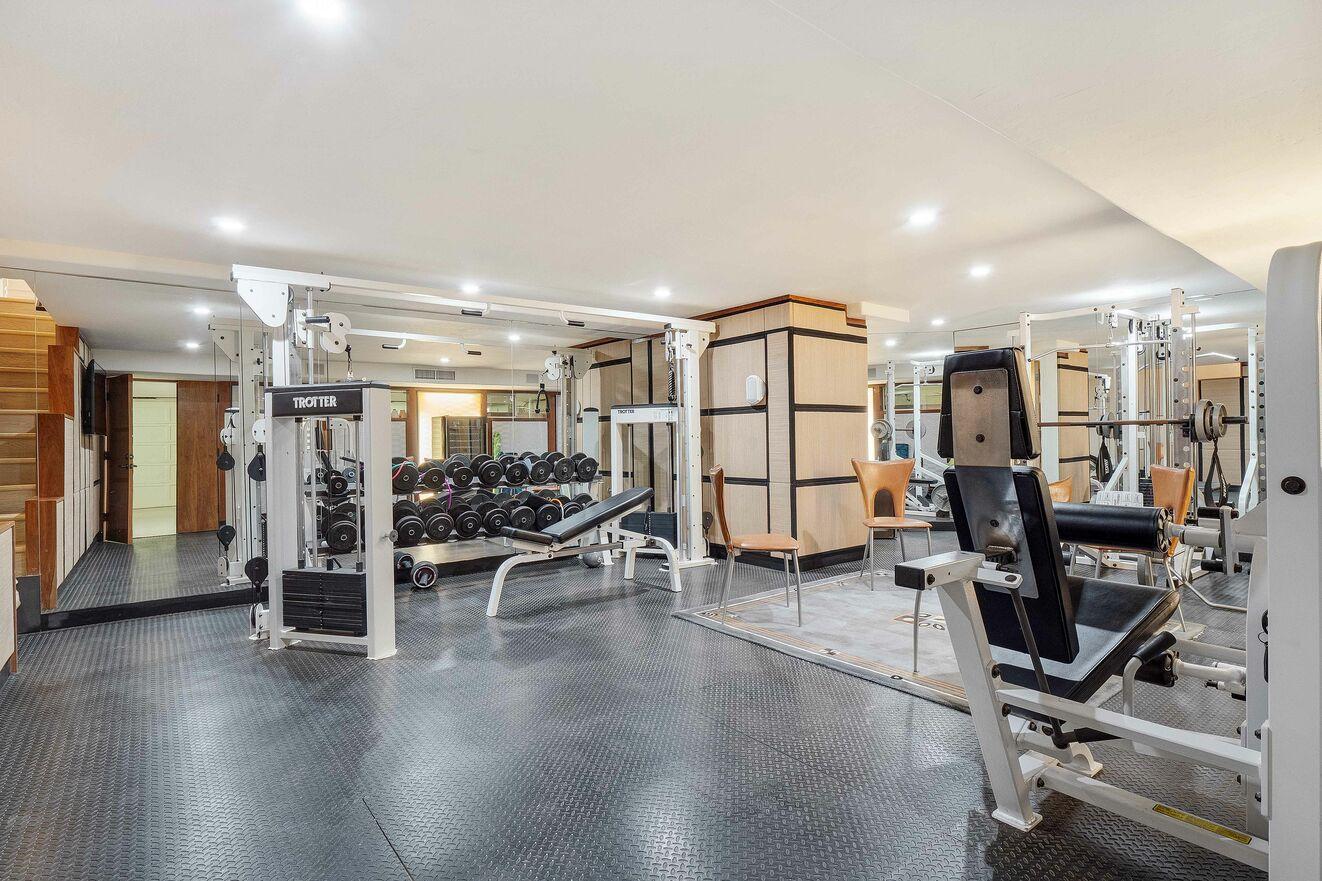 Gym with half bath on ground floor