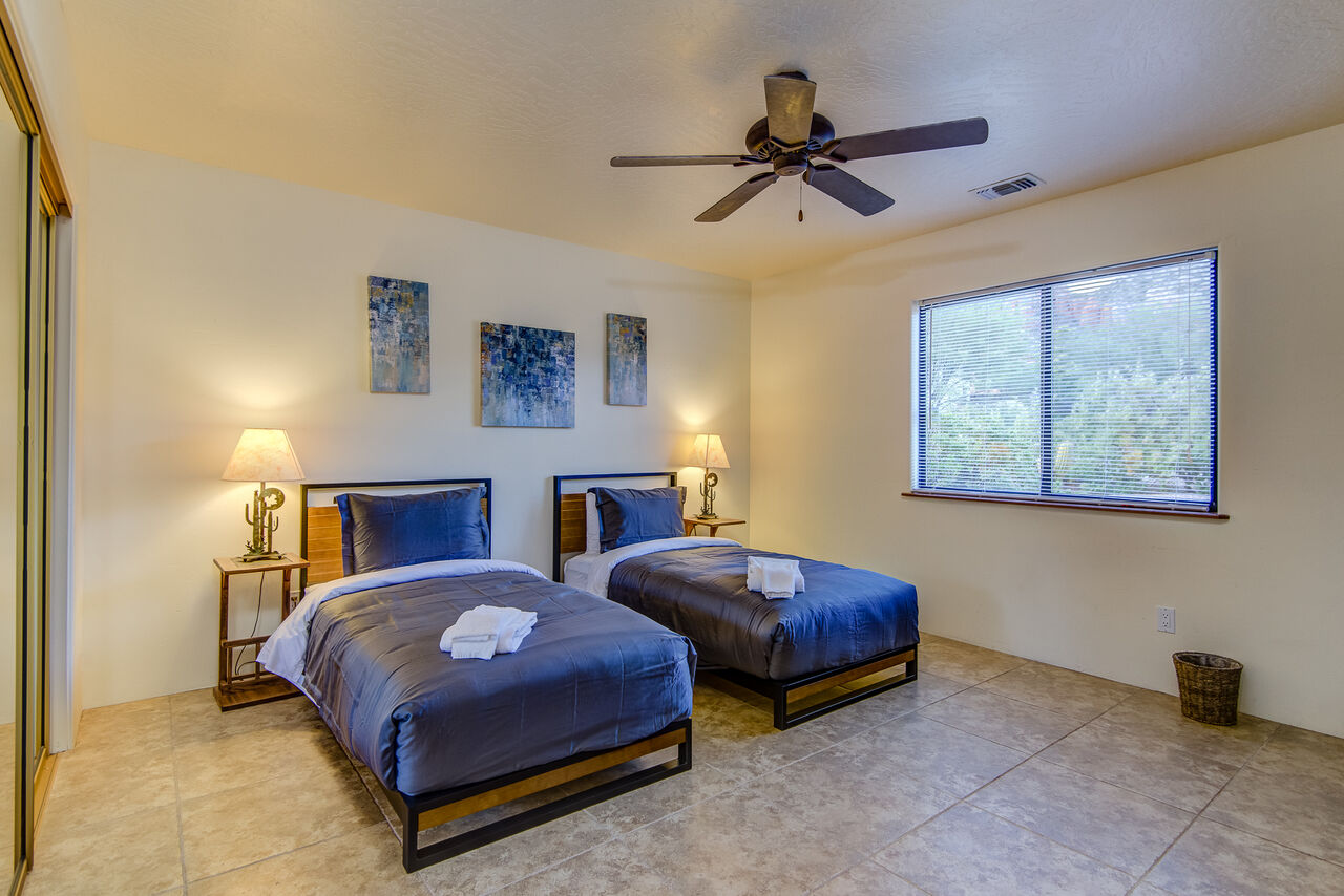 Two Twin Beds (Or Put Together for a King Upon Request and $30) Fee, and Access to the Full Shared Bath