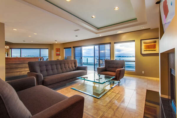 Living Area with Patio views