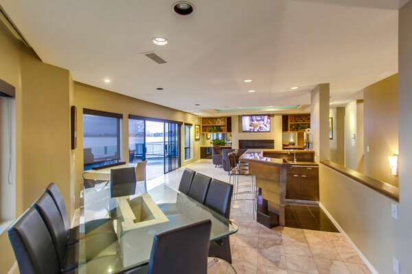 Dining Area opens to the rest of this Vacation Home Rental in San Diego