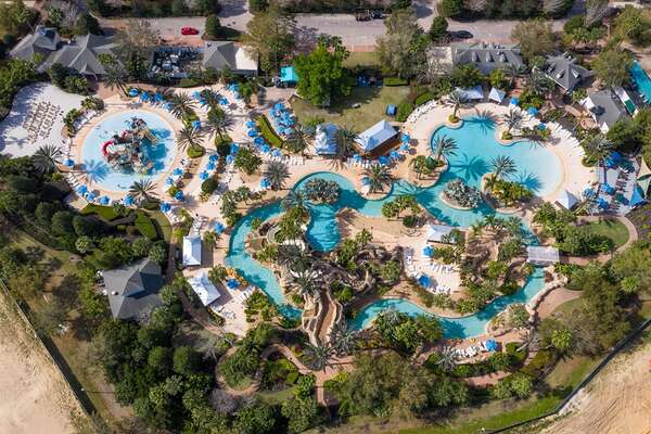 Aerial of the Reunion Resort Water Park.