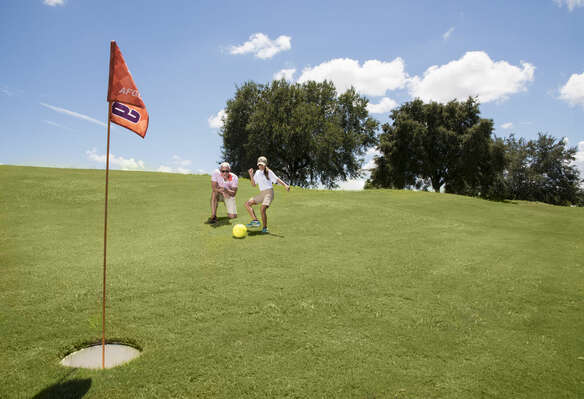 FootGolf - Played like golf but with a soccer ball; fun for the whole family