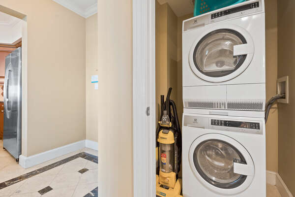 Full-sized washer and dryer for your convenience.