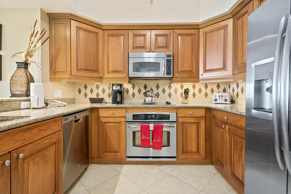 The kitchen comes fully equipped so you can cook and store your own meals.