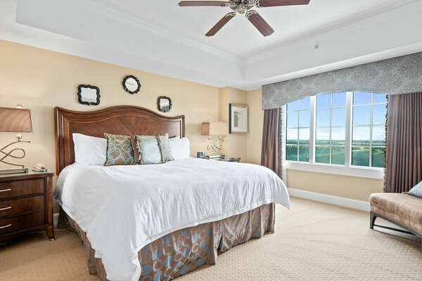 Enjoy the view from your king-size bed in the master suite.