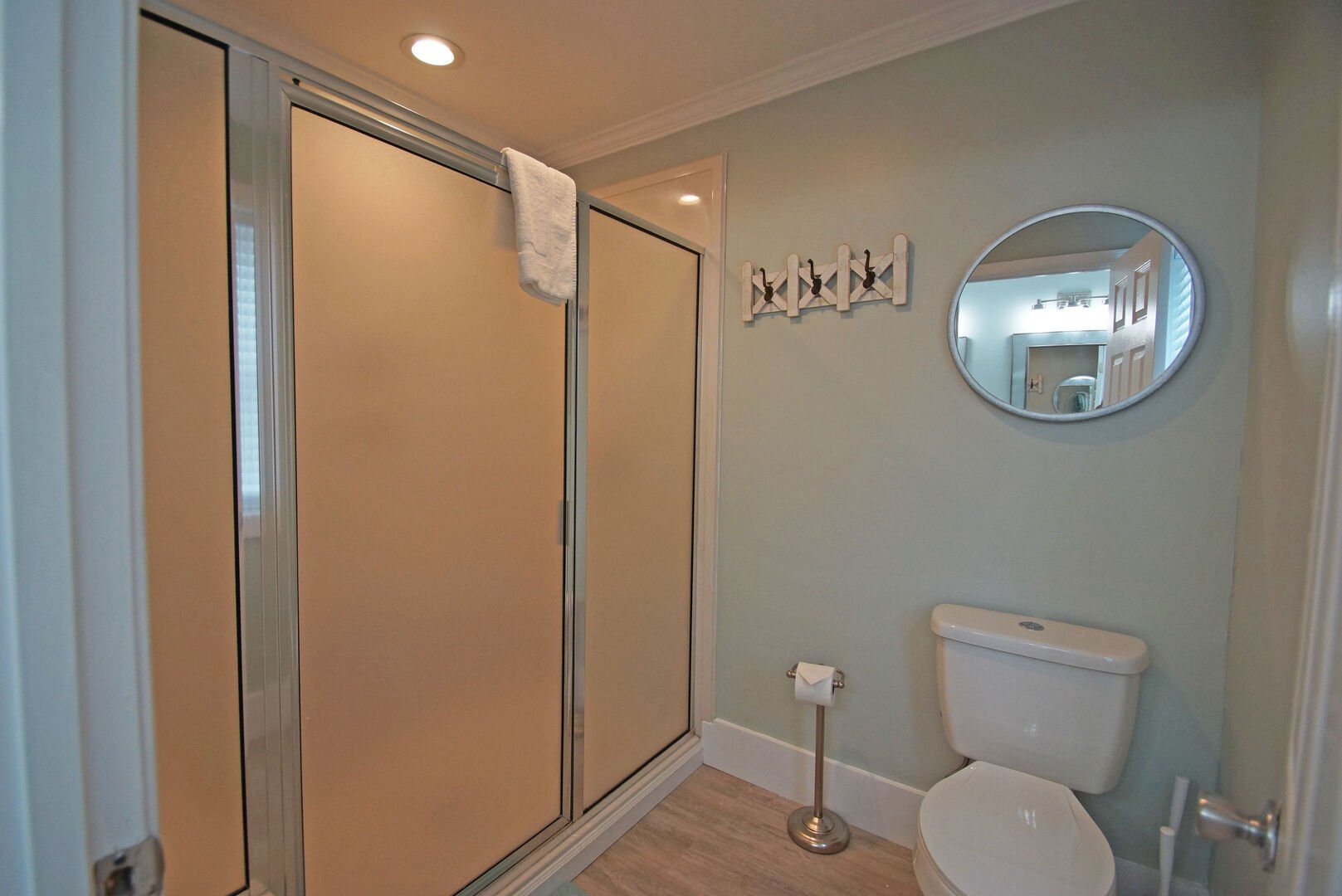 Walk-In Shower, Toilet, and Mirror.