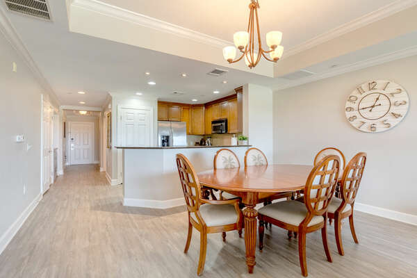 Serve dinner at the formal dining table with seating up to 6