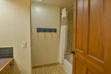Bathroom with shower and tub combo
