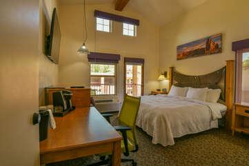 Studio style bedroom and kitchenette