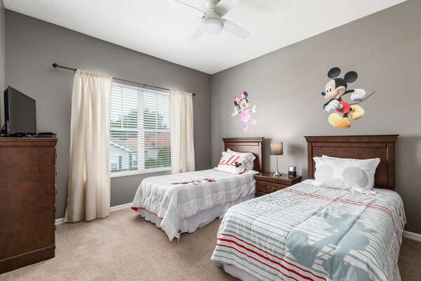 Kids will love this bedroom filled with characters they'll recognize!
