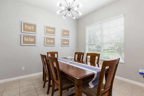 Dine as a family at the formal dining table